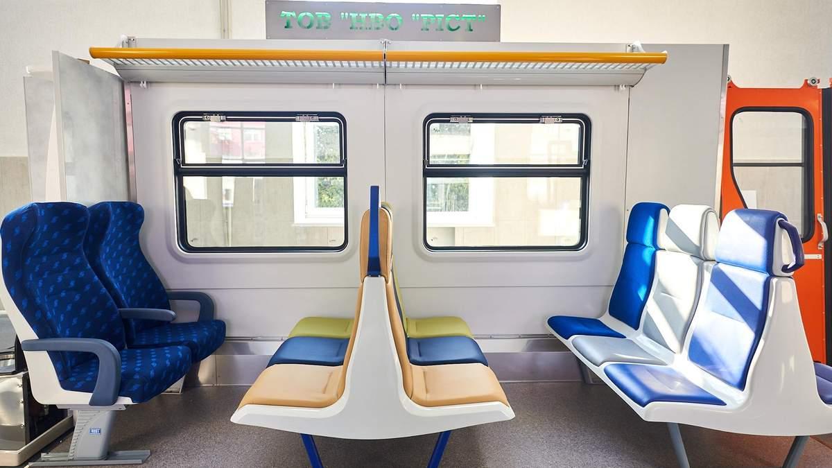Нові меблі для електричок: Укрзалізниця показала варіанти – фото